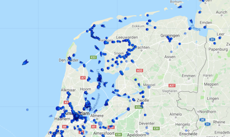 marinetraffickaart De Hester Tweemastklipper Kampen